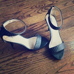 Sexy black ankle strap heels